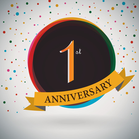 1st Anniversary poster   template design in retro style - Vector Background Vector
