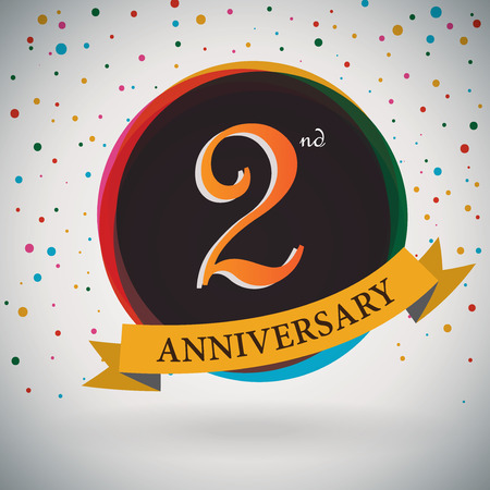 2nd Anniversary poster   template design in retro style - Vector Background