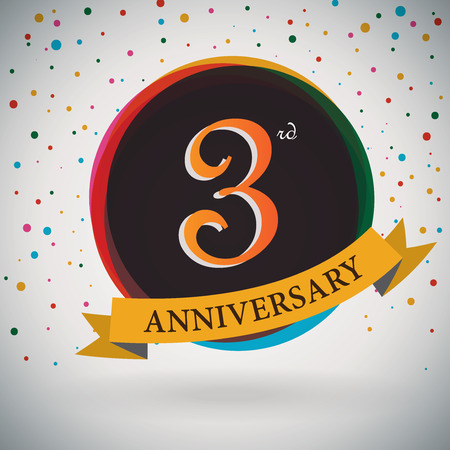 third birthday: 3rd Anniversary poster   template design in retro style - Vector Background