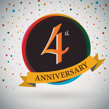 fourth birthday: 4th Anniversary poster   template design in retro style - Vector Background Illustration