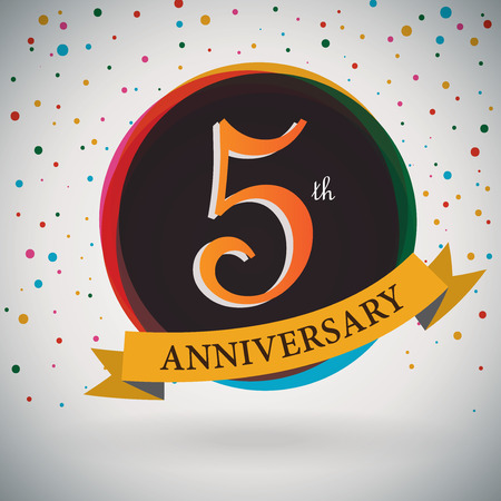 fifth: 5th Anniversary poster   template design in retro style - Vector Background Illustration