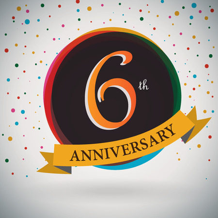 6th Anniversary poster   template design in retro style - Vector Background