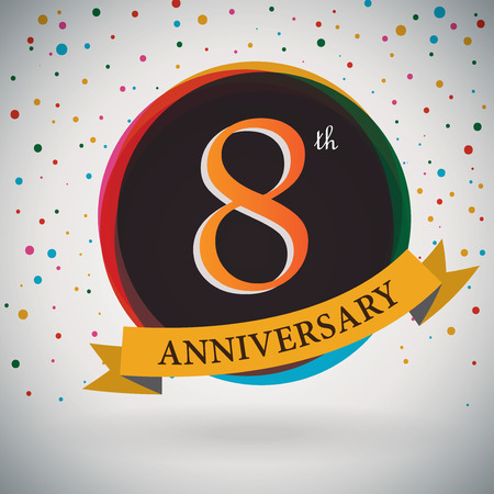 8th Anniversary poster   template design in retro style - Vector Background Vector