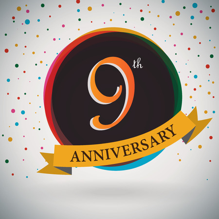 ninth: 9th Anniversary poster   template design in retro style - Vector Background Illustration