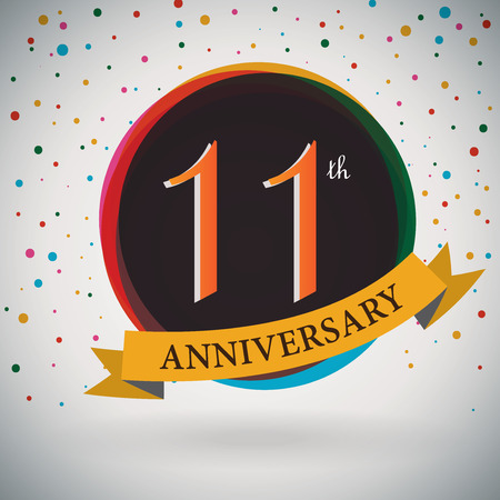 eleventh birthday: 11th Anniversary poster   template design in retro style - Vector Background