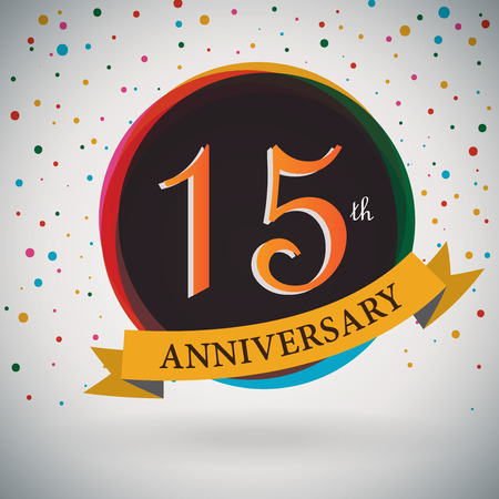15: 15th Anniversary poster   template design in retro style - Vector Background Illustration