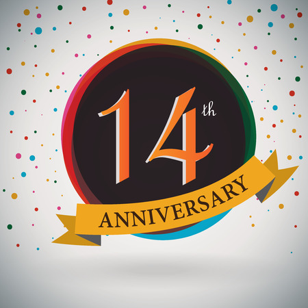 14th: 14th Anniversary poster   template design in retro style - Vector Background