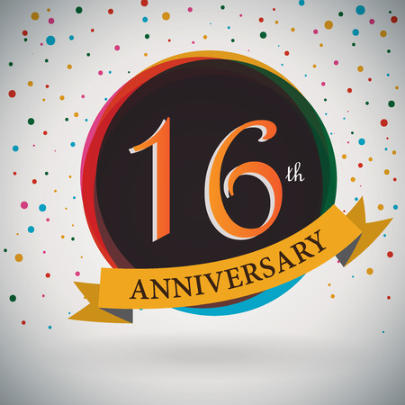 16th: 16th Anniversary poster   template design in retro style - Vector Background Illustration