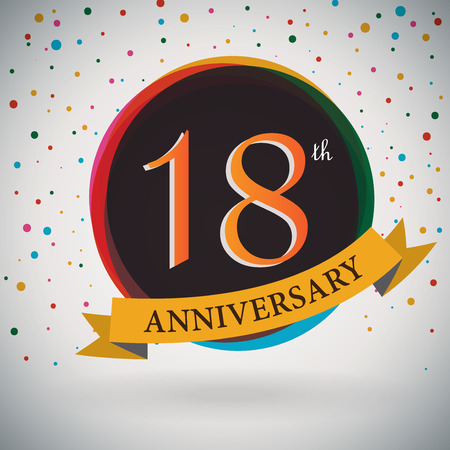 18th Anniversary poster   template design in retro style - Vector Background Vector