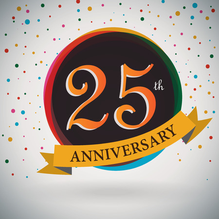 the twenty fifth: 25th Anniversary poster   template design in retro style - Vector Background