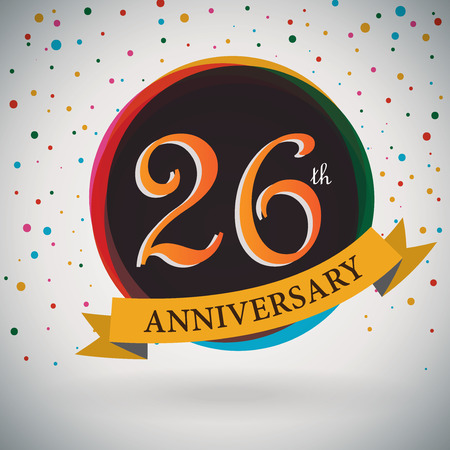 26th: 26th Anniversary poster   template design in retro style - Vector Background