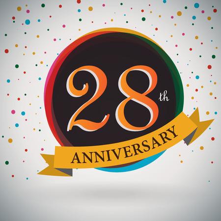 anniversary celebration: 28th Anniversary poster   template design in retro style - Vector Background Illustration