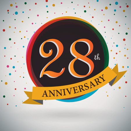 28th Anniversary poster   template design in retro style - Vector Background Illustration