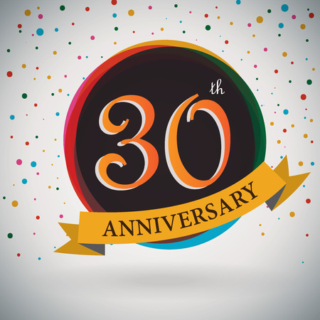 anniversary card: 30th Anniversary poster   template design in retro style - Vector Background