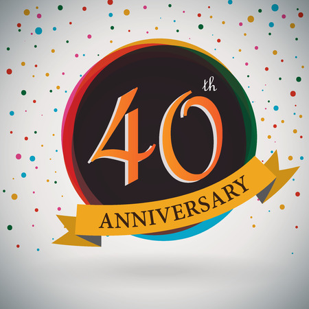 40th: 40th Anniversary poster   template design in retro style - Vector Background