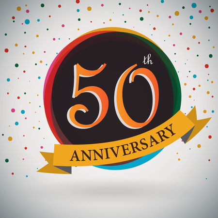 50th: 50th Anniversary poster   template design in retro style - Vector Background Illustration