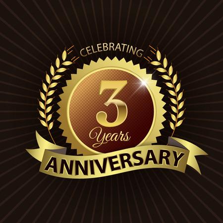 third birthday: Celebrating 3 Years Anniversary - Golden Laurel Wreath Seal with Golden Ribbon - Layered EPS 10 Vector