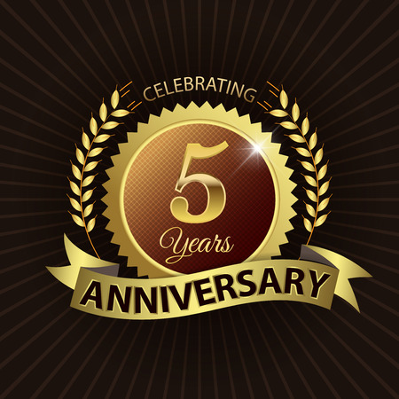 Celebrating 5 Years Anniversary - Golden Laurel Wreath Seal with Golden Ribbon - Layered EPS 10 Vector Illustration