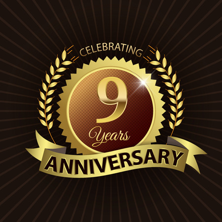 Celebrating 9 Years Anniversary - Golden Laurel Wreath Seal with Golden Ribbon - Layered EPS 10 Vector