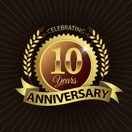 Celebrating 10 Years Anniversary - Golden Laurel Wreath Seal with Golden Ribbon - Layered EPS 10 Vector Çizim
