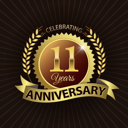 11 years: Celebrating 11 Years Anniversary - Golden Laurel Wreath Seal with Golden Ribbon - Layered EPS 10 Vector