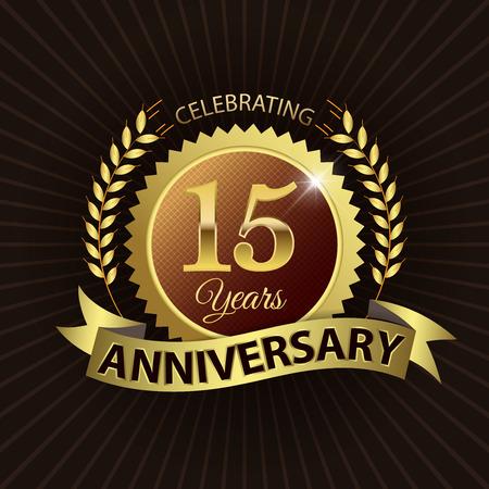 EPS 10 層 15 年周年ゴールデン リボン付きシール ゴールデン月桂冠 - ベクトル  イラスト・ベクター素材