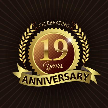 EPS 10 層 19 年記念ゴールデン リボン付きシール ゴールデン月桂冠 - ベクトル