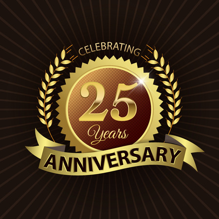 anniversary backgrounds: Celebrating 25 Years Anniversary - Golden Laurel Wreath Seal with Golden Ribbon - Layered EPS 10 Vector