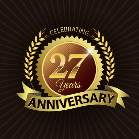 Celebrating 27 Years Anniversary - Golden Laurel Wreath Seal with Golden Ribbon - Layered EPS 10 Vector 일러스트
