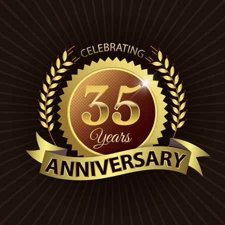 golden laurel wreath 10 years: Celebrating 35 Years Anniversary - Golden Laurel Wreath Seal with Golden Ribbon - Layered EPS 10 Vector