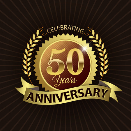 Celebrating 50 Years Anniversary - Golden Laurel Wreath Seal with Golden Ribbon - Layered EPS 10 Vector