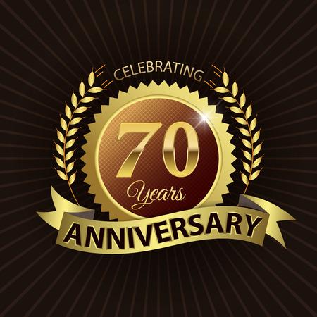 Celebrating 70 Years Anniversary - Golden Laurel Wreath Seal with Golden Ribbon 向量圖像