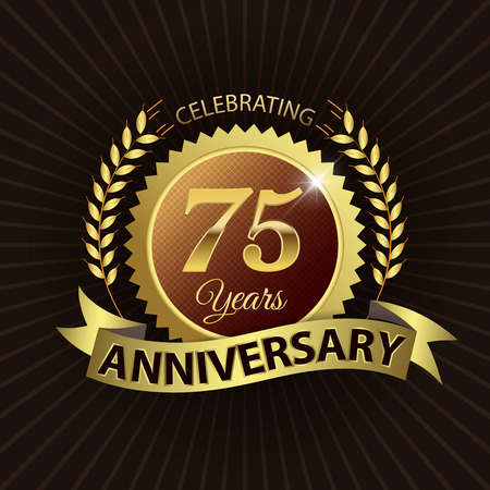 Celebrating 75 Years Anniversary - Golden Laurel Wreath Seal with Golden Ribbon Vectores