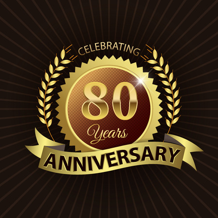 80 years: Celebrating 80 Years Anniversary - Golden Laurel Wreath Seal with Golden Ribbon Illustration