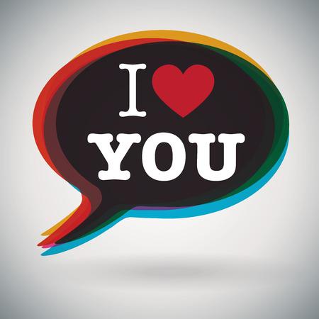 i love: Speech Bubble - I Love You Illustration