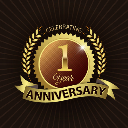 Celebrating 1 Year Anniversary - Golden Laurel Wreath Seal with Golden Ribbon Vector