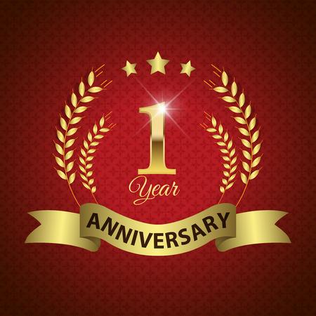 anniversario matrimonio: Celebrando 1 Year Anniversary - Golden Laurel Wreath sigillare con nastro dorato - Layered EPS 10 Vector