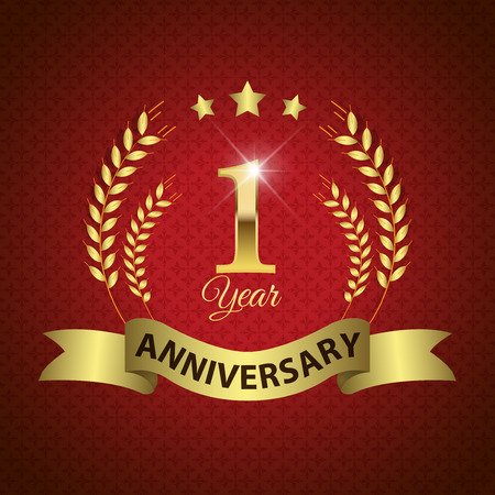 one year: Celebrating 1 Year Anniversary - Golden Laurel Wreath Seal with Golden Ribbon - Layered EPS 10 Vector