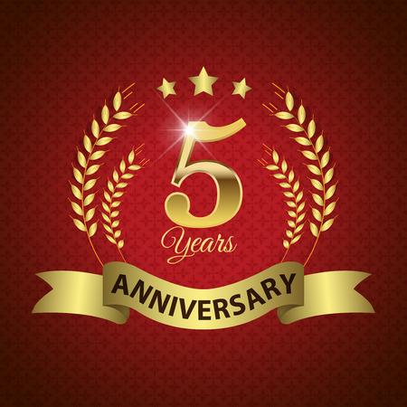Célébration de 5 ans Anniversaire - Golden Seal Laurel Wreath avec Golden Ribbon - Layered EPS 10 Vector Banque d'images - 33378991