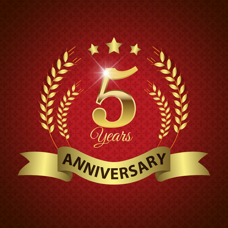 Celebrating 5 Years Anniversary - Golden Laurel Wreath Seal with Golden Ribbon - Layered EPS 10 Vector Ilustração