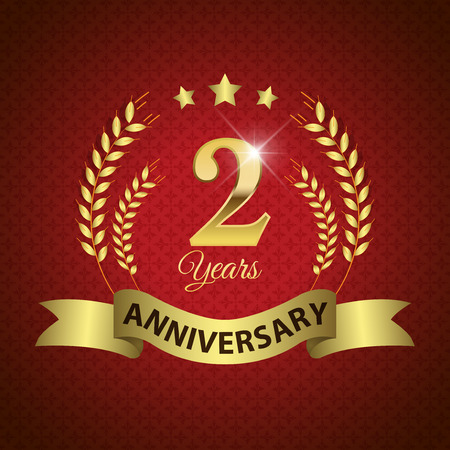 Celebrating 2 Years Anniversary - Golden Laurel Wreath Seal with Golden Ribbon - Layered EPS 10 Vector Vector