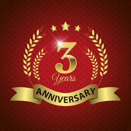 Celebrating 3 Years Anniversary - Golden Laurel Wreath Seal with Golden Ribbon - Layered EPS 10 Vector