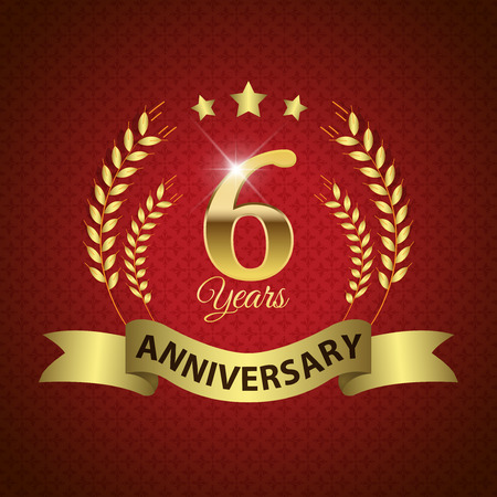 6 years: Celebrating 6 Years Anniversary - Golden Laurel Wreath Seal with Golden Ribbon - Layered EPS 10 Vector