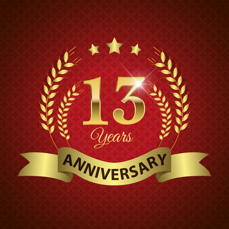 13: Celebrating 13 Years Anniversary - Golden Laurel Wreath Seal with Golden Ribbon - Layered EPS 10 Vector