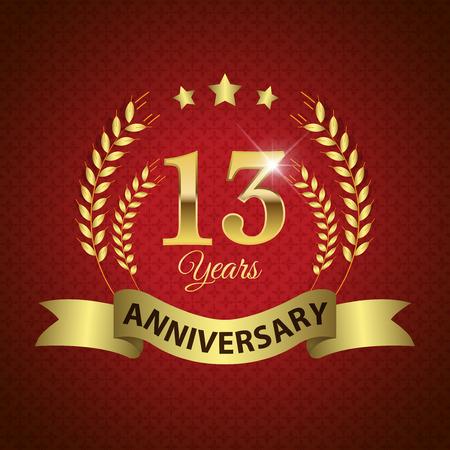 EPS 10 層 13 年周年 - ゴールデン リボン付きシール ゴールデン月桂樹のリース - ベクトル