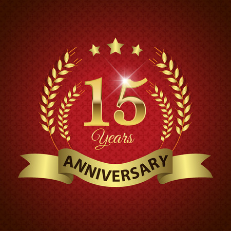 10 15 years: Celebrating 15 Years Anniversary - Golden Laurel Wreath Seal with Golden Ribbon - Layered EPS 10 Vector