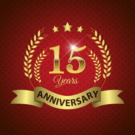 EPS 10 層 15 年周年 - ゴールデン リボン付きシール ゴールデン月桂樹のリース - ベクトル
