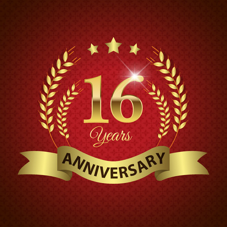 16 years: Celebrating 16 Years Anniversary - Golden Laurel Wreath Seal with Golden Ribbon - Layered EPS 10 Vector Illustration