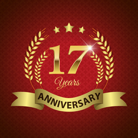 17th: Celebrating 17 Years Anniversary - Golden Laurel Wreath Seal with Golden Ribbon - Layered EPS 10 Vector