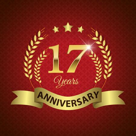 EPS 10 周年 17 年 - ゴールデン リボン付きシール ゴールデン月桂樹のリース - 層状ベクトル